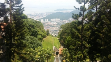 Funicular railway up Penang Hill