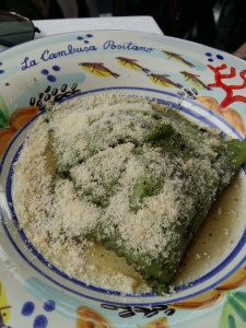 Spinach and ricotta ravioli La Cambusa restaurant