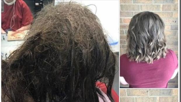 Depressed girl and hairdresser