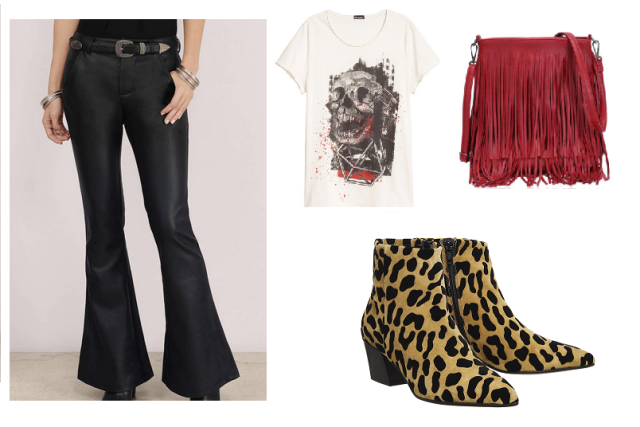 Tobi flared leather look trousers outfit