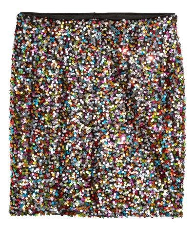 H&M multi coloured sequin skirt