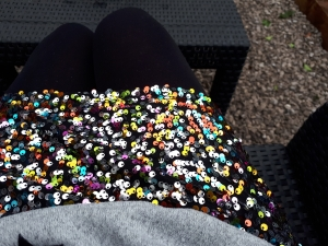 Sequin skirt outside