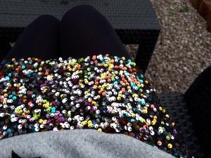 Sequin skirt outside