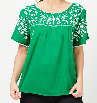 Asda George green embroidered top