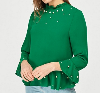 E5P green pearl trim blouse