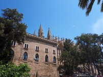 Palace de l'Almudaina Palma in front of Palma Cathedral