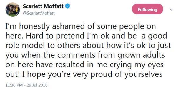 Scarlett Moffatt crying tweet