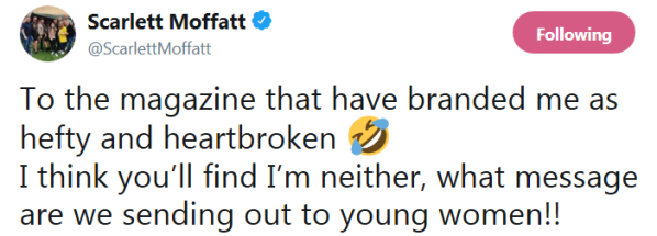 Scarlett Moffatt hefty and heartbroken tweet
