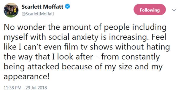 Scarlett Moffatt social anxiety tweet